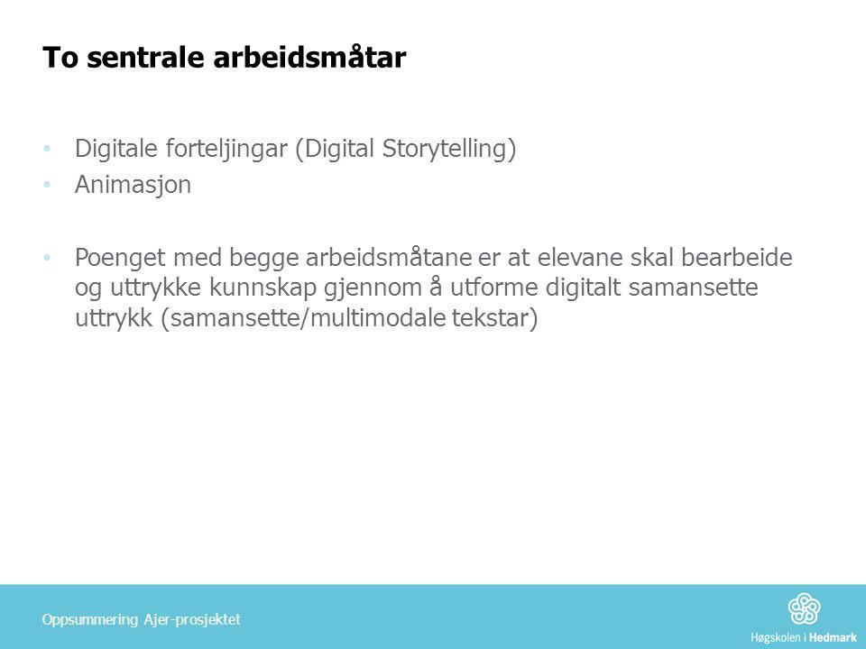 To sentrale arbeidsmåtar • Digitale forteljingar (Digital Storytelling) • Animasjon • Poenget med begge arbeidsmåtane er at elevane skal bearbeide og uttrykke kunnskap gjennom å utforme digitalt samansette uttrykk (samansette/multimodale tekstar) Oppsummering Ajer-prosjektet
