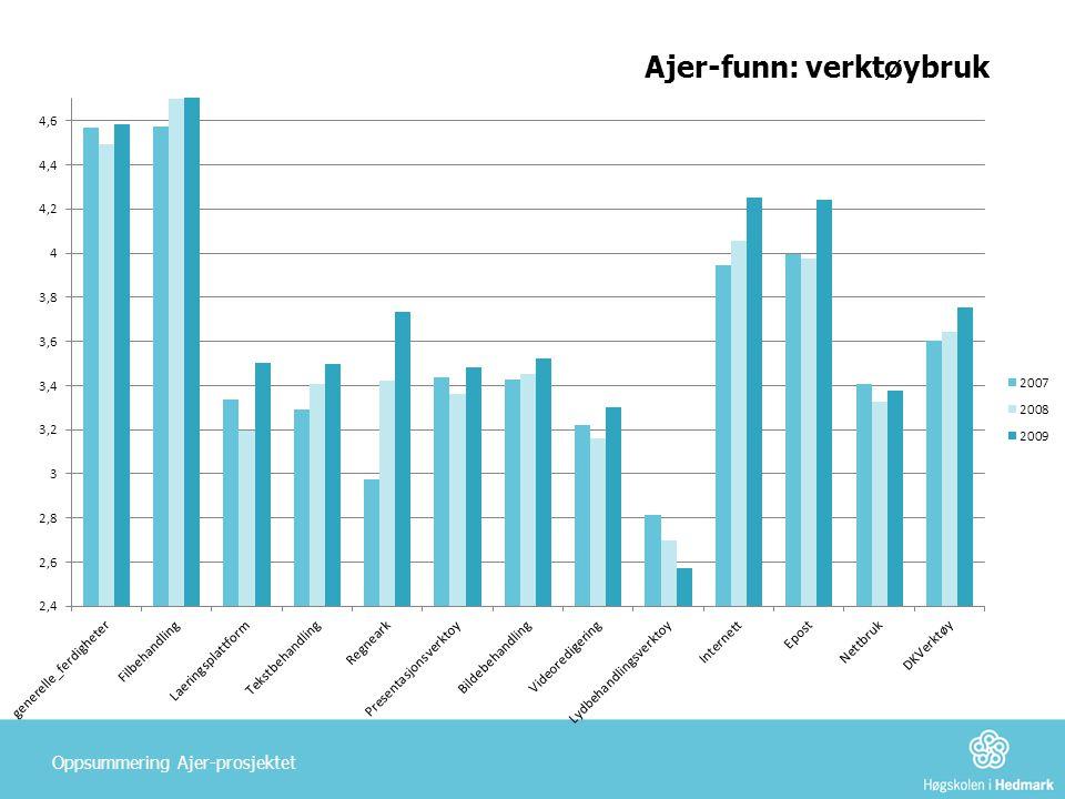 Ajer-funn: verktøybruk Oppsummering Ajer-prosjektet