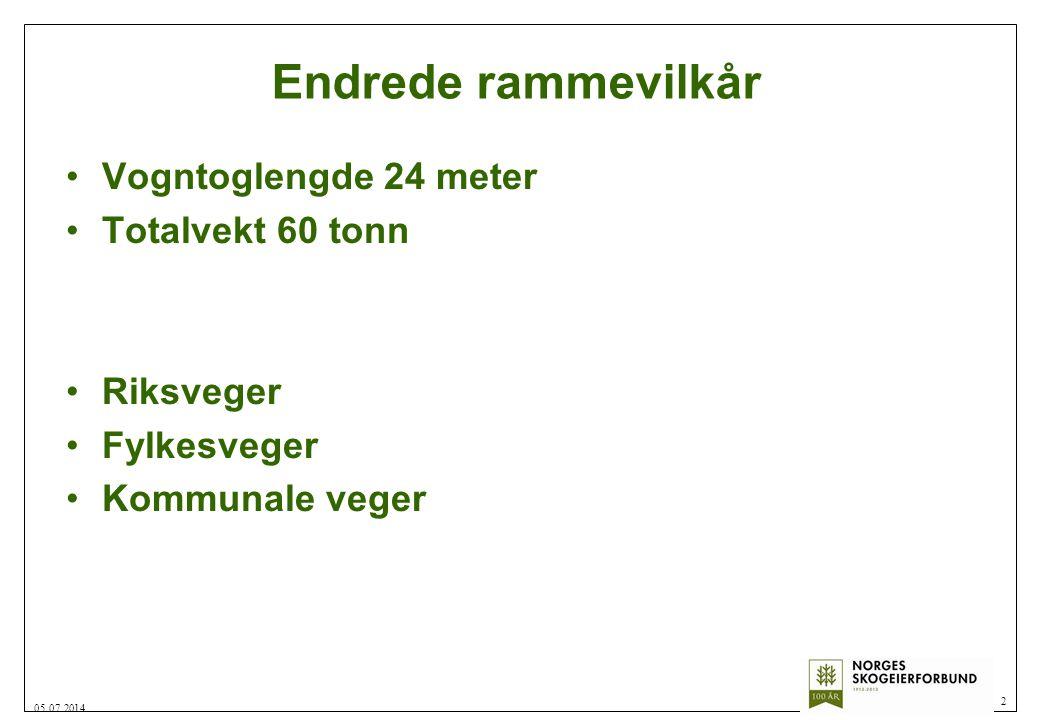 Endrede rammevilkår •Vogntoglengde 24 meter •Totalvekt 60 tonn •Riksveger •Fylkesveger •Kommunale veger 2 05.07.2014