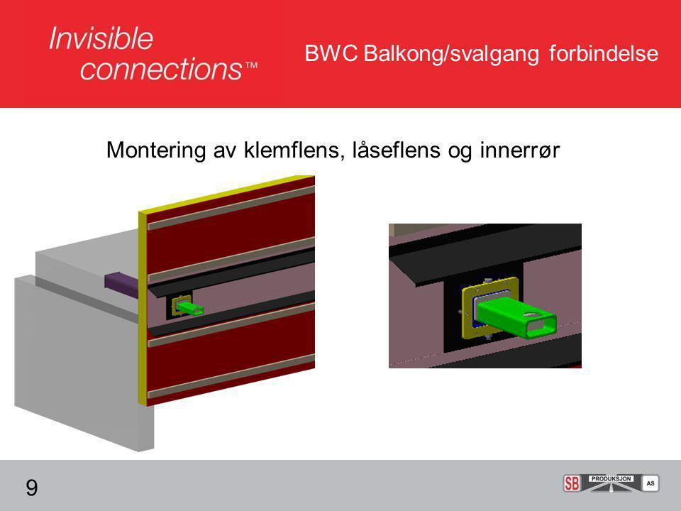 BWC Balkong/svalgang forbindelse Montering av klemflens, låseflens og innerrør 9
