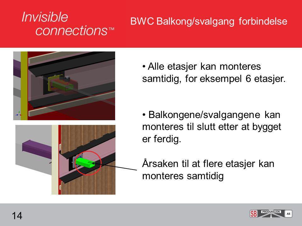 • Alle etasjer kan monteres samtidig, for eksempel 6 etasjer.