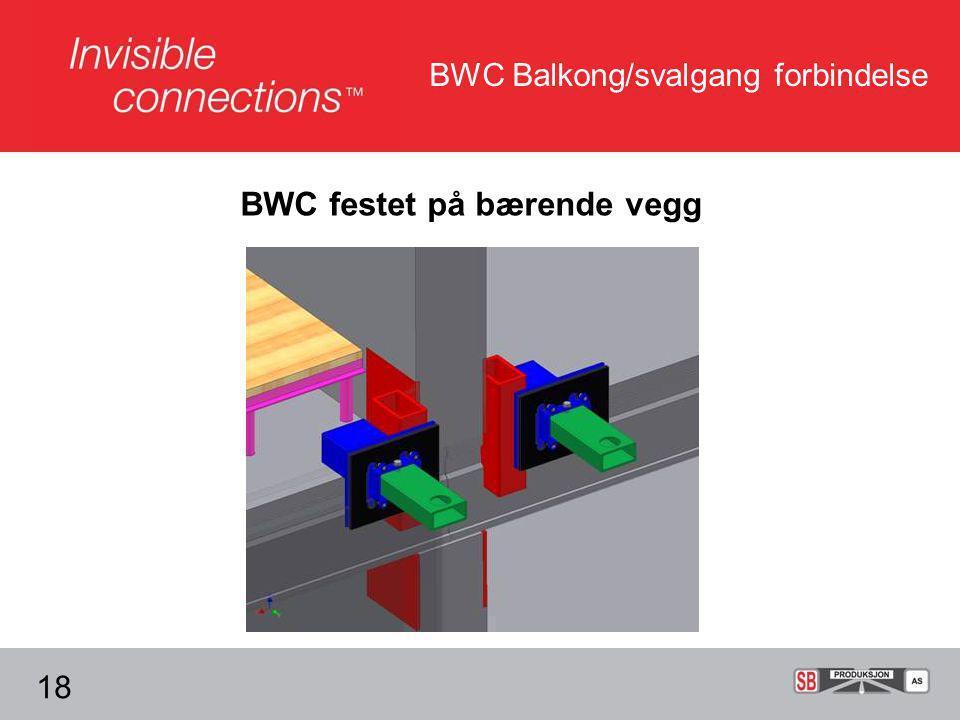 BWC Balkong/svalgang forbindelse 18 BWC festet på bærende vegg