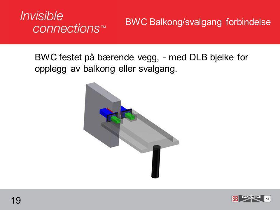 BWC Balkong/svalgang forbindelse BWC festet på bærende vegg, - med DLB bjelke for opplegg av balkong eller svalgang.
