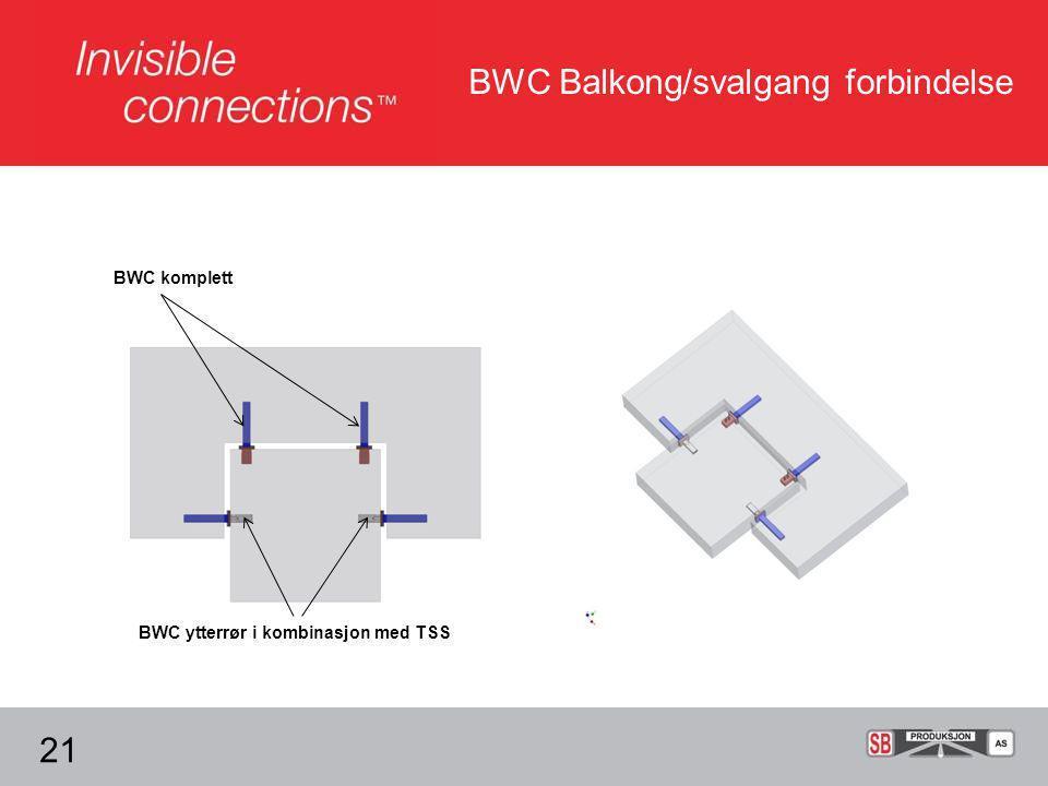 BWC Balkong/svalgang forbindelse 21 BWC komplett BWC ytterrør i kombinasjon med TSS