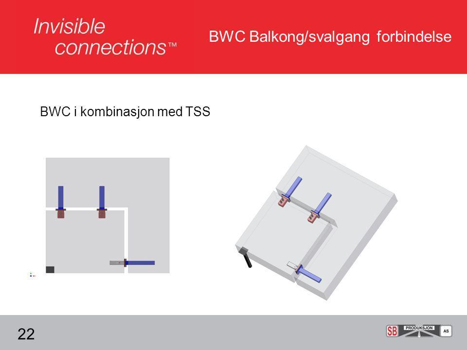 BWC Balkong/svalgang forbindelse 22 BWC i kombinasjon med TSS