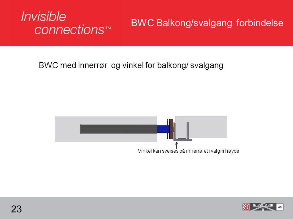 BWC Balkong/svalgang forbindelse 23 BWC med innerrør og vinkel for balkong/ svalgang Vinkel kan sveises på innerrøret i valgfri høyde
