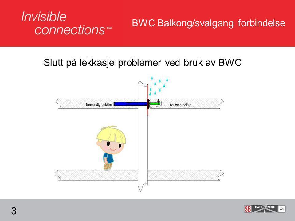 Slutt på lekkasje problemer ved bruk av BWC BWC Balkong/svalgang forbindelse 3