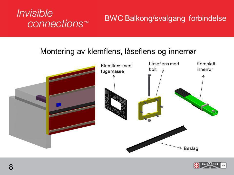 BWC Balkong/svalgang forbindelse Montering av klemflens, låseflens og innerrør 8 Klemflens med fugemasse Låseflens med bolt Komplett innerrør Beslag