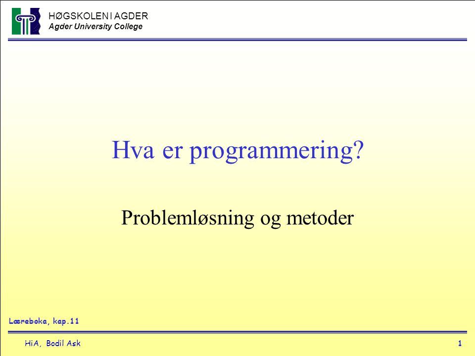 HØGSKOLEN I AGDER Agder University College HiA, Bodil Ask1 Hva er programmering? Problemløsning og metoder Læreboka, kap.11