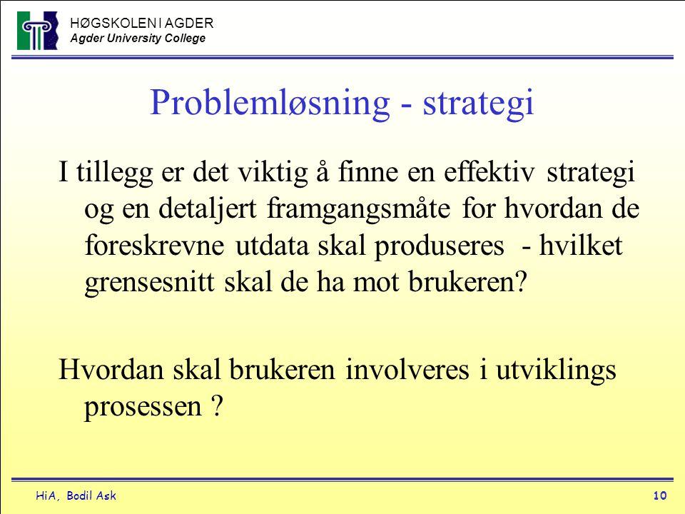 HØGSKOLEN I AGDER Agder University College HiA, Bodil Ask10 Problemløsning - strategi I tillegg er det viktig å finne en effektiv strategi og en detal