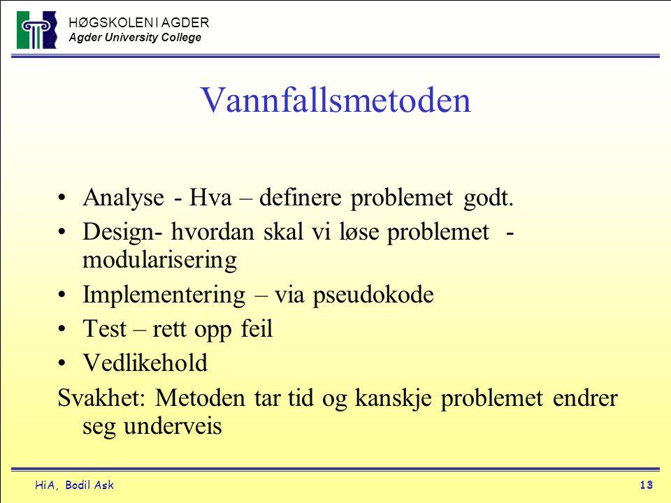 HØGSKOLEN I AGDER Agder University College HiA, Bodil Ask13 Vannfallsmetoden •Analyse - Hva – definere problemet godt. •Design- hvordan skal vi løse p