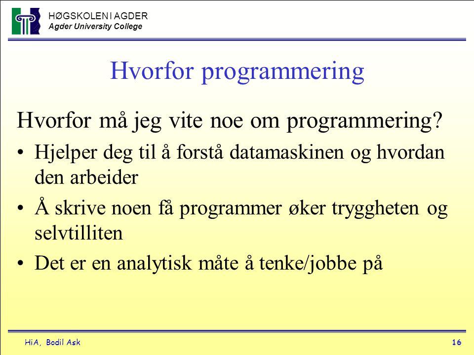 HØGSKOLEN I AGDER Agder University College HiA, Bodil Ask16 Hvorfor programmering Hvorfor må jeg vite noe om programmering? •Hjelper deg til å forstå