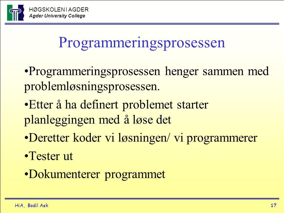 HØGSKOLEN I AGDER Agder University College HiA, Bodil Ask17 Programmeringsprosessen •Programmeringsprosessen henger sammen med problemløsningsprosesse