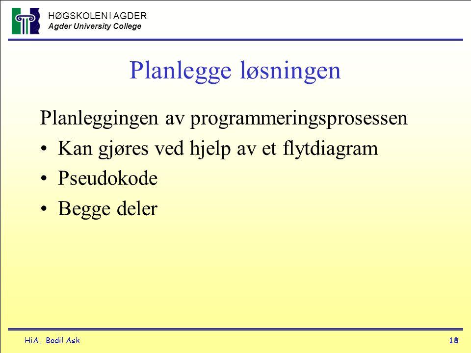 HØGSKOLEN I AGDER Agder University College HiA, Bodil Ask18 Planlegge løsningen Planleggingen av programmeringsprosessen •Kan gjøres ved hjelp av et f