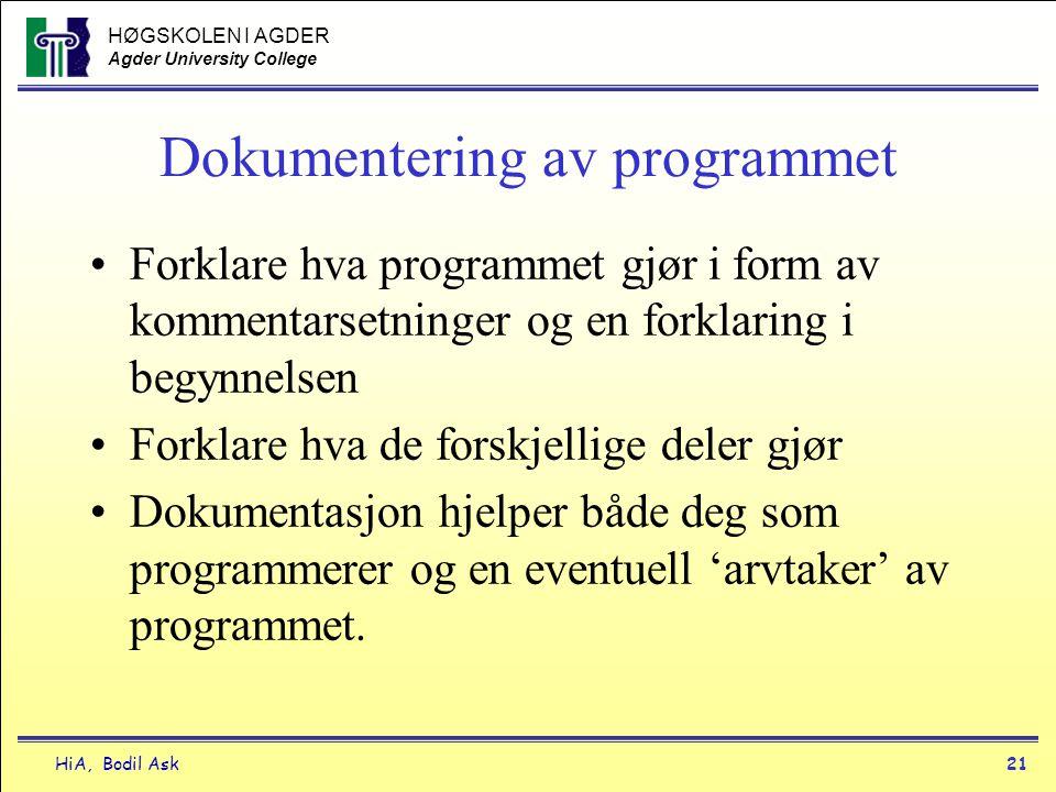 HØGSKOLEN I AGDER Agder University College HiA, Bodil Ask21 Dokumentering av programmet •Forklare hva programmet gjør i form av kommentarsetninger og