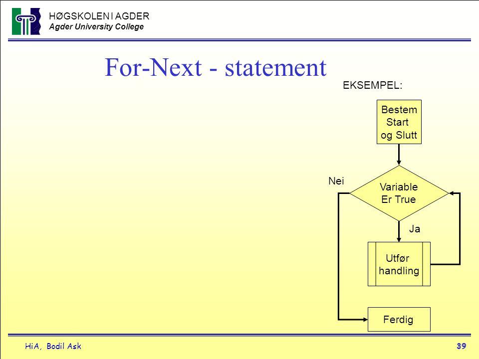 HØGSKOLEN I AGDER Agder University College HiA, Bodil Ask39 For-Next - statement Bestem Start og Slutt Utfør handling Variable Er True Ja EKSEMPEL: Fe