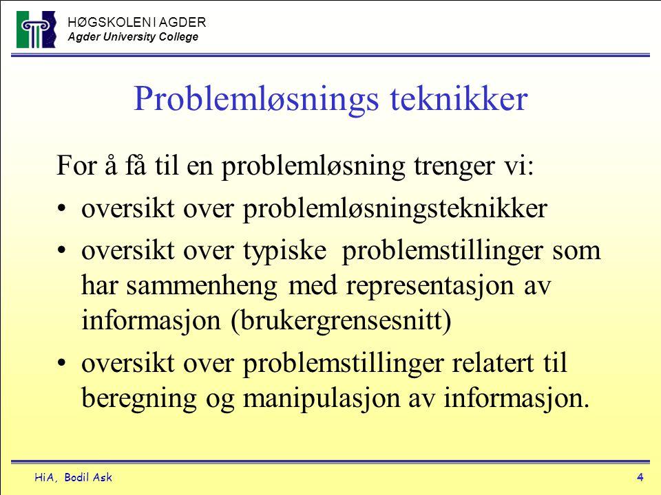 HØGSKOLEN I AGDER Agder University College HiA, Bodil Ask4 Problemløsnings teknikker For å få til en problemløsning trenger vi: •oversikt over problem
