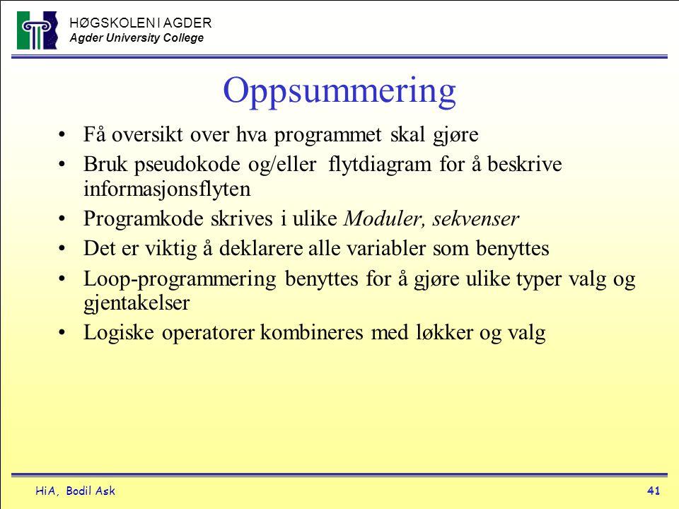 HØGSKOLEN I AGDER Agder University College HiA, Bodil Ask41 Oppsummering •Få oversikt over hva programmet skal gjøre •Bruk pseudokode og/eller flytdia
