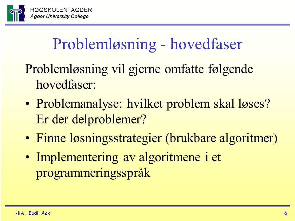 HØGSKOLEN I AGDER Agder University College HiA, Bodil Ask6 Problemløsning - hovedfaser Problemløsning vil gjerne omfatte følgende hovedfaser: •Problem