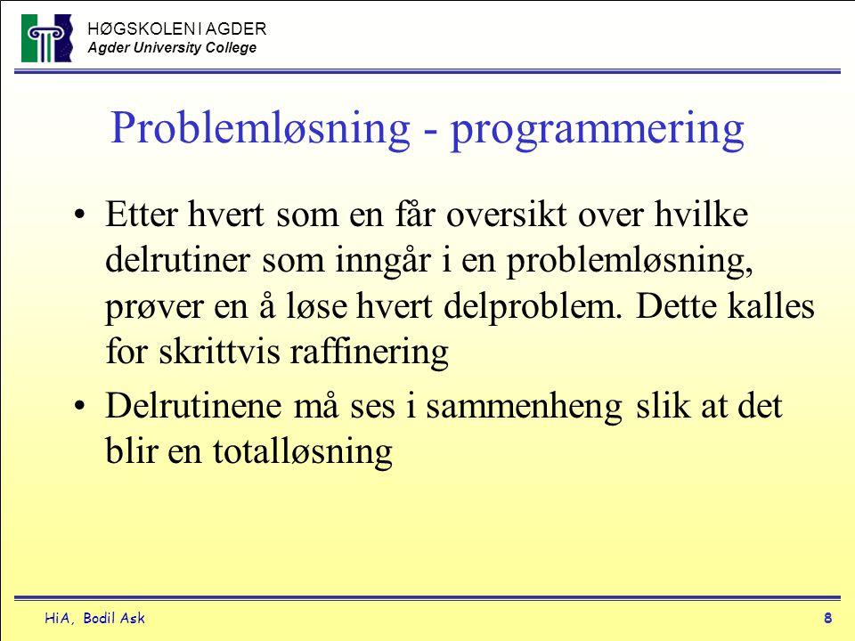 HØGSKOLEN I AGDER Agder University College HiA, Bodil Ask8 Problemløsning - programmering •Etter hvert som en får oversikt over hvilke delrutiner som