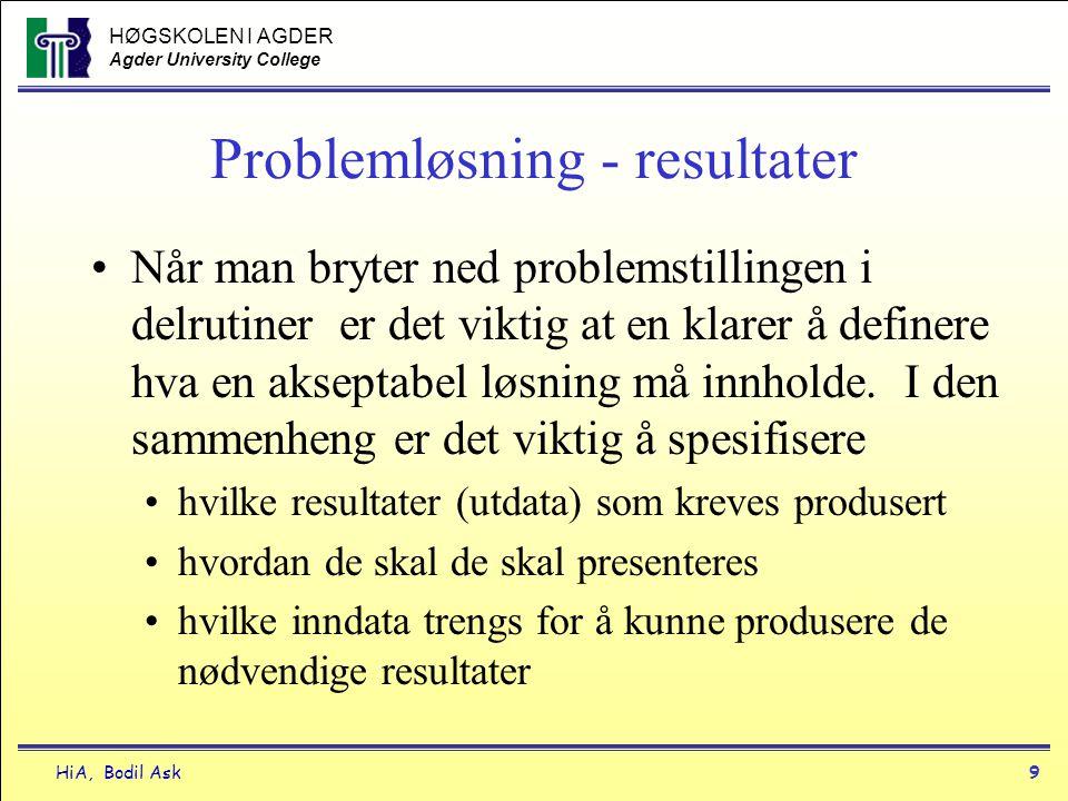 HØGSKOLEN I AGDER Agder University College HiA, Bodil Ask9 Problemløsning - resultater •Når man bryter ned problemstillingen i delrutiner er det vikti