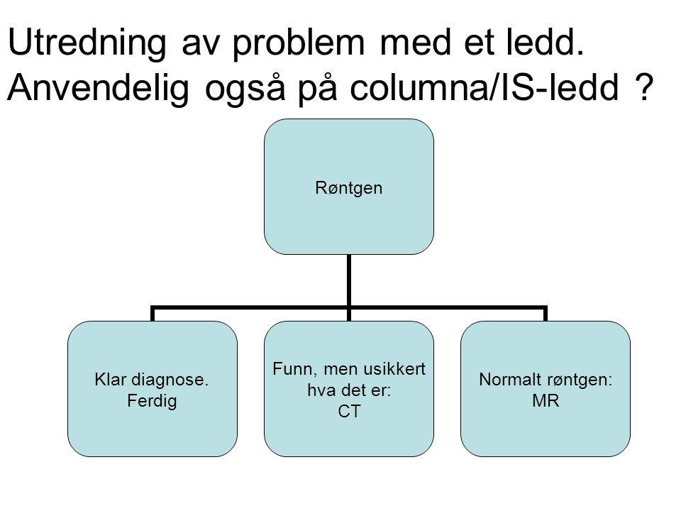 Forslag til utredning av IS-ledd (presentert på ESSR i 2011): •Symptomer mindre enn 3 mndr: Ingen us •Symptomer 3- 12 mndr.: MR •Symptomer over 1 år: røntgen