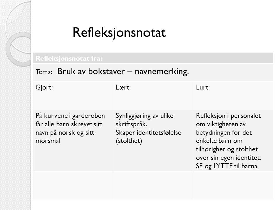 Refleksjonsnotat Refleksjonsnotat fra: Tema: Bruk av bokstaver – navnemerking.
