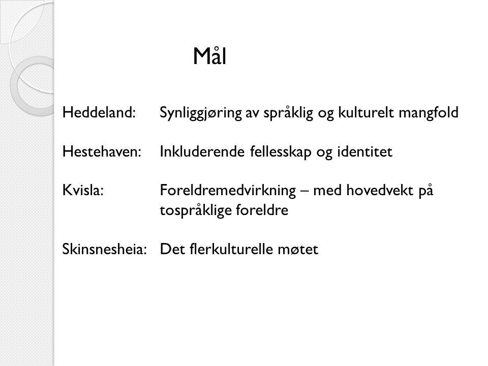 Mål Heddeland:Synliggjøring av språklig og kulturelt mangfold Hestehaven:Inkluderende fellesskap og identitet Kvisla:Foreldremedvirkning – med hovedvekt på tospråklige foreldre Skinsnesheia:Det flerkulturelle møtet
