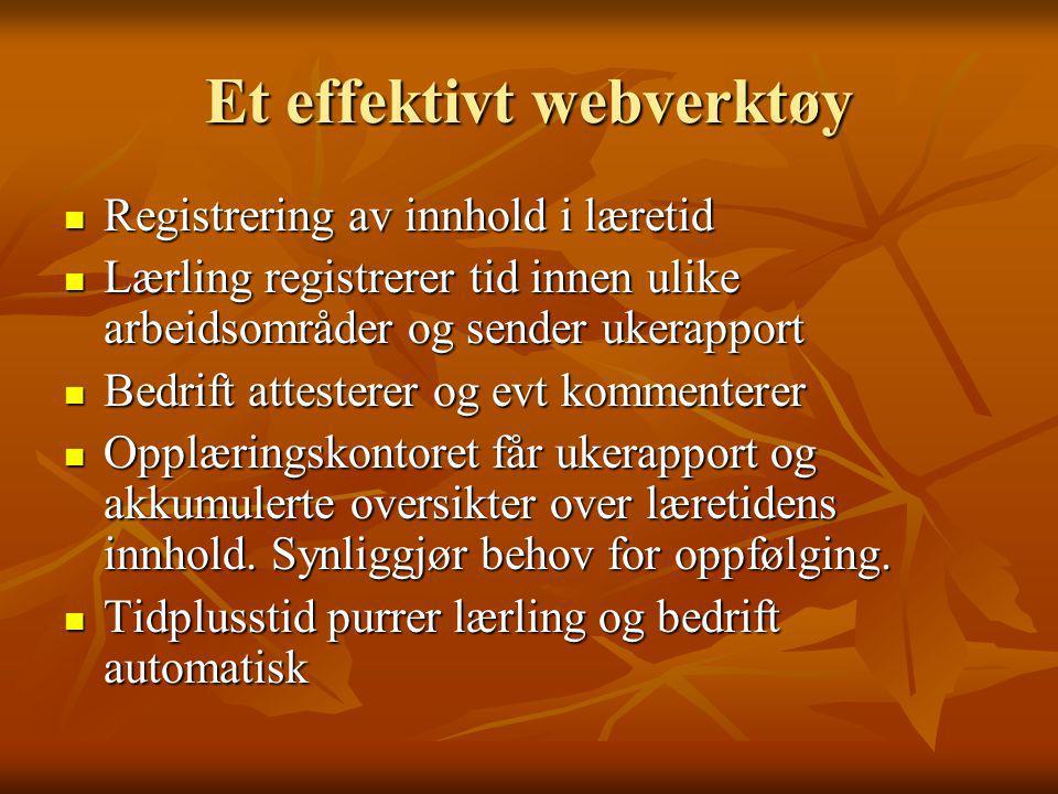 Et effektivt webverktøy  Registrering av innhold i læretid  Lærling registrerer tid innen ulike arbeidsområder og sender ukerapport  Bedrift attest