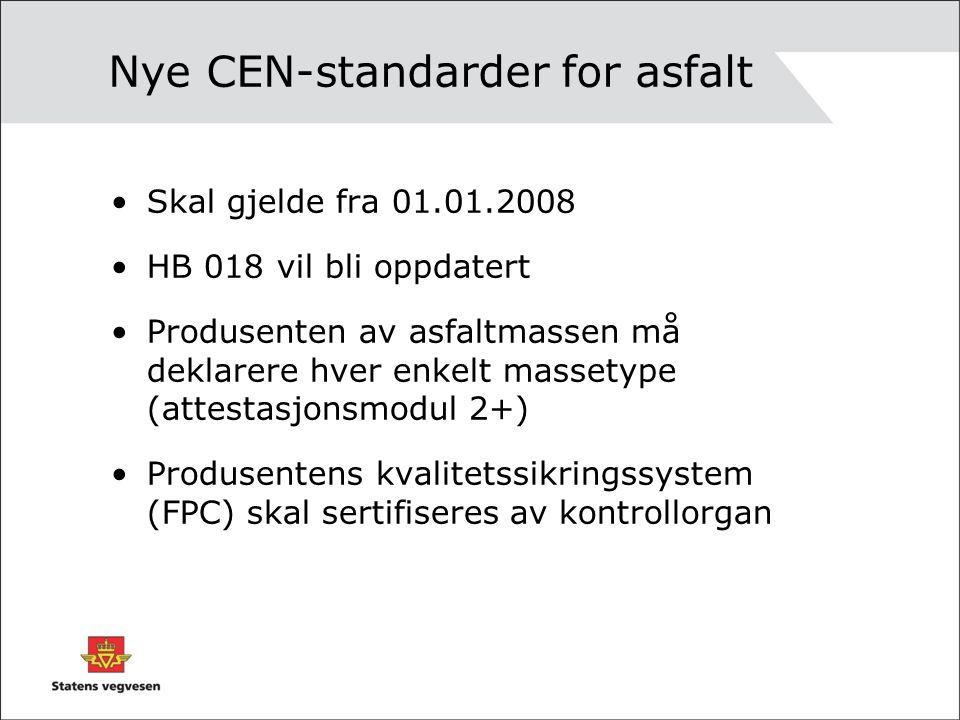 Nye CEN-standarder for asfalt •Skal gjelde fra 01.01.2008 •HB 018 vil bli oppdatert •Produsenten av asfaltmassen må deklarere hver enkelt massetype (a