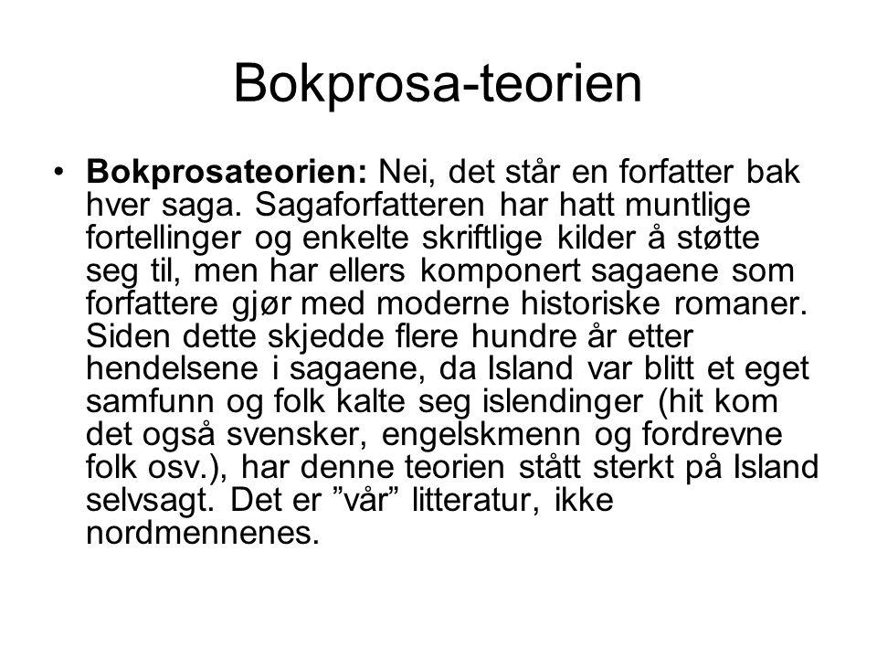 Bokprosa-teorien •Bokprosateorien: Nei, det står en forfatter bak hver saga.