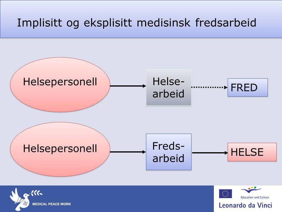 Implisitt og eksplisitt medisinsk fredsarbeid Helsepersonell HELSE Freds- arbeid Helsepersonell FRED Helse- arbeid