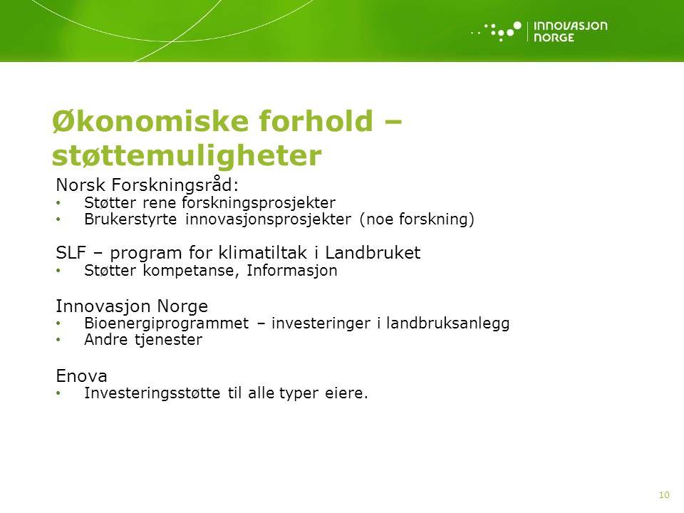 10 Økonomiske forhold – støttemuligheter Norsk Forskningsråd: • Støtter rene forskningsprosjekter • Brukerstyrte innovasjonsprosjekter (noe forskning) SLF – program for klimatiltak i Landbruket • Støtter kompetanse, Informasjon Innovasjon Norge • Bioenergiprogrammet – investeringer i landbruksanlegg • Andre tjenester Enova • Investeringsstøtte til alle typer eiere.