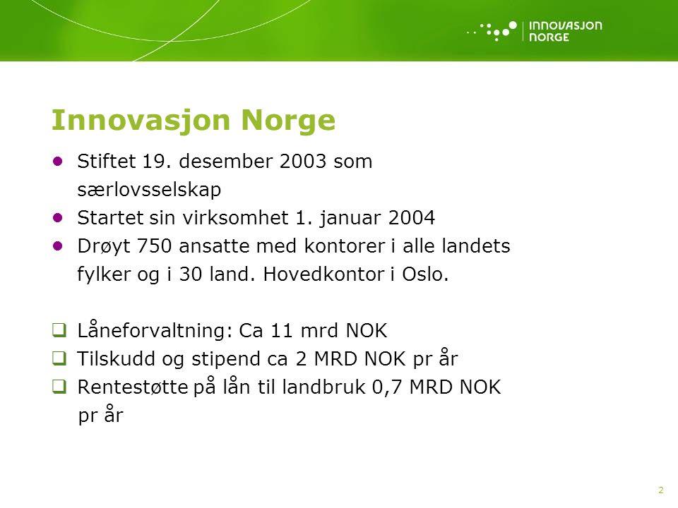 2 Innovasjon Norge •Stiftet 19. desember 2003 som særlovsselskap •Startet sin virksomhet 1. januar 2004 •Drøyt 750 ansatte med kontorer i alle landets