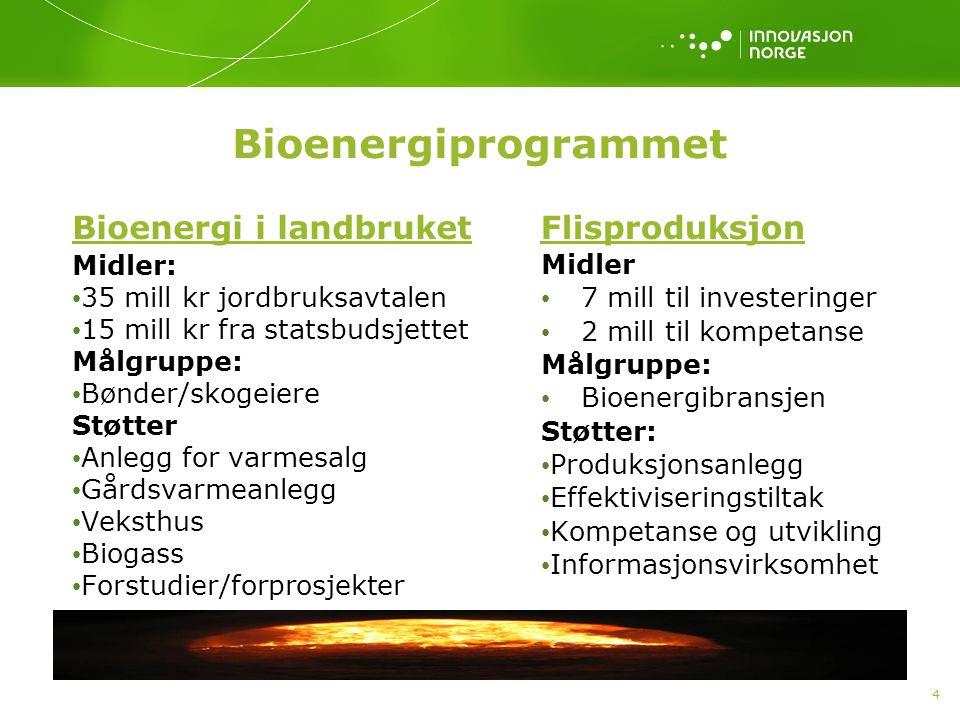 4 Bioenergiprogrammet Bioenergi i landbruket Midler: • 35 mill kr jordbruksavtalen • 15 mill kr fra statsbudsjettet Målgruppe: • Bønder/skogeiere Støtter • Anlegg for varmesalg • Gårdsvarmeanlegg • Veksthus • Biogass • Forstudier/forprosjekter Flisproduksjon Midler • 7 mill til investeringer • 2 mill til kompetanse Målgruppe: • Bioenergibransjen Støtter: • Produksjonsanlegg • Effektiviseringstiltak • Kompetanse og utvikling • Informasjonsvirksomhet
