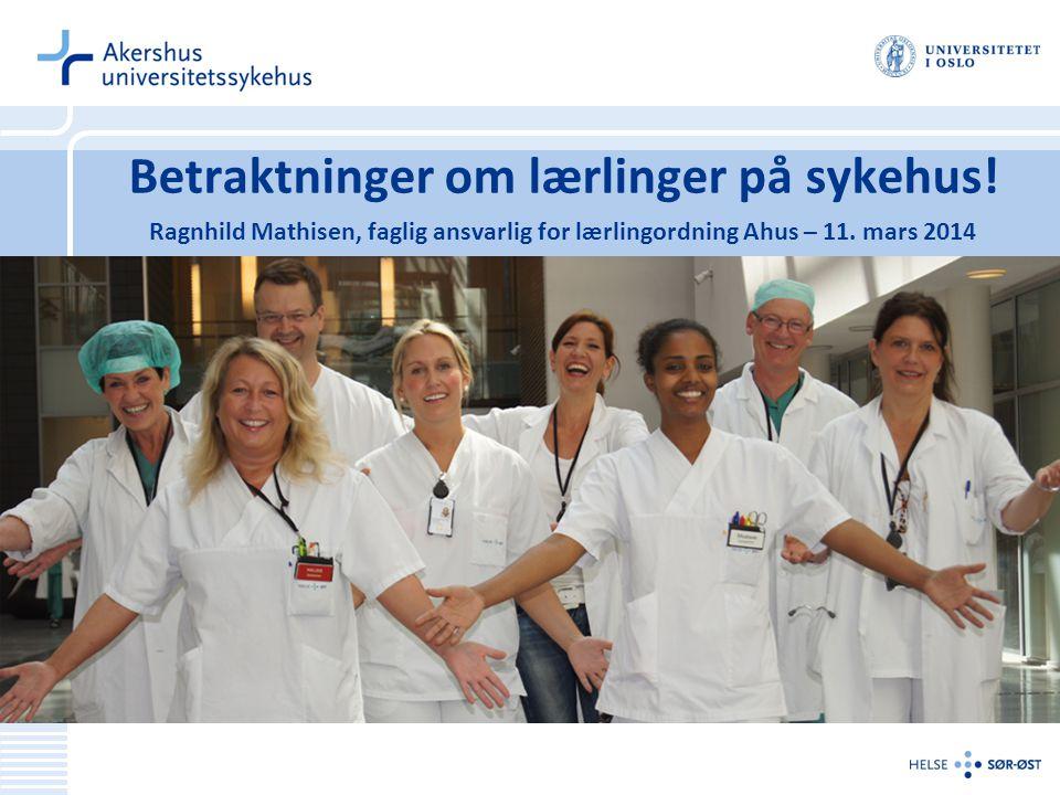 Betraktninger om lærlinger på sykehus! Ragnhild Mathisen, faglig ansvarlig for lærlingordning Ahus – 11. mars 2014