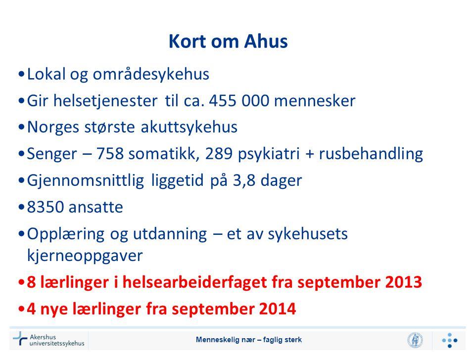 Kort om Ahus •Lokal og områdesykehus •Gir helsetjenester til ca. 455 000 mennesker •Norges største akuttsykehus •Senger – 758 somatikk, 289 psykiatri
