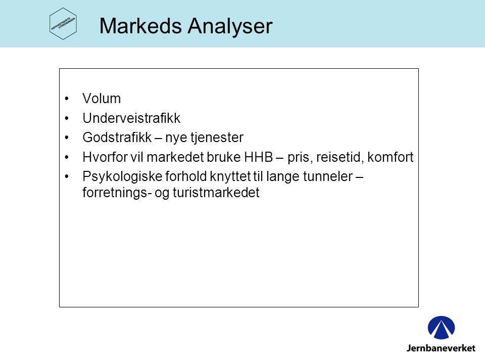 Markeds Analyser •Volum •Underveistrafikk •Godstrafikk – nye tjenester •Hvorfor vil markedet bruke HHB – pris, reisetid, komfort •Psykologiske forhold knyttet til lange tunneler – forretnings- og turistmarkedet