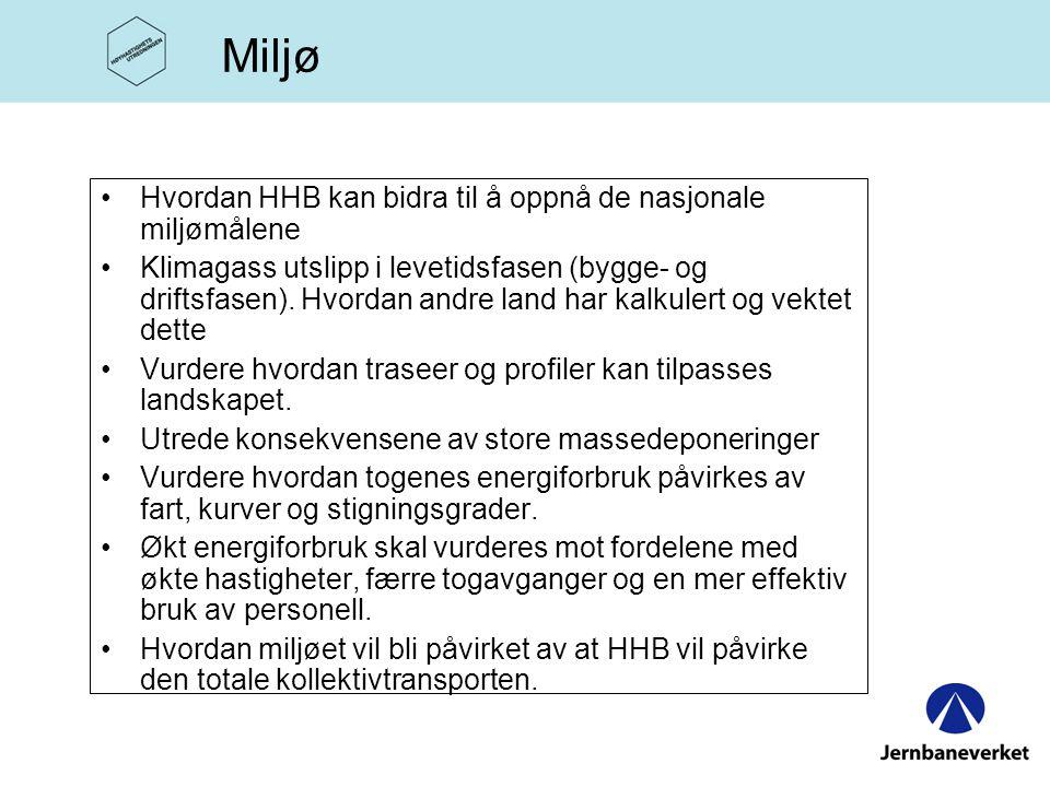 •Hvordan HHB kan bidra til å oppnå de nasjonale miljømålene •Klimagass utslipp i levetidsfasen (bygge- og driftsfasen).
