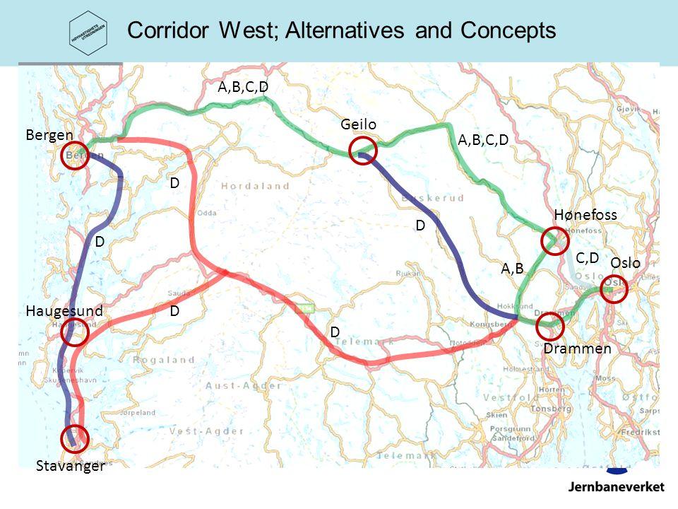 Corridor West; Alternatives and Concepts A,B,C,D C,D A,B D D D D D Oslo Drammen Hønefoss Geilo Bergen Haugesund Stavanger