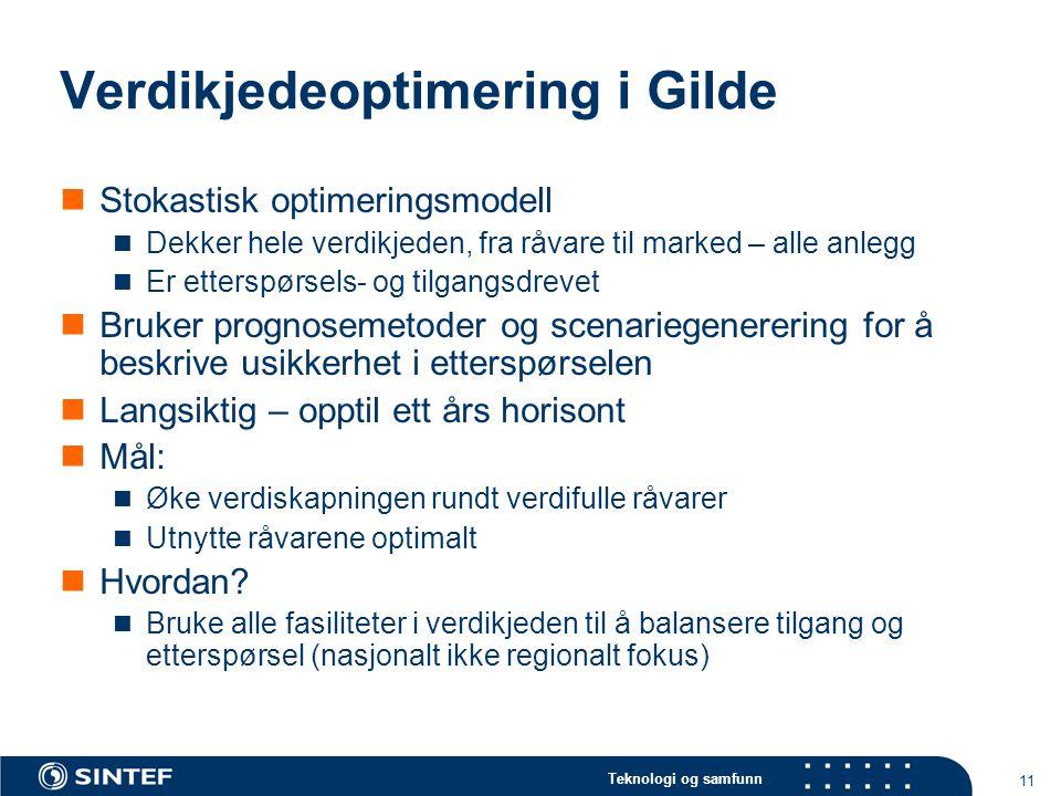 Teknologi og samfunn 11 Verdikjedeoptimering i Gilde  Stokastisk optimeringsmodell  Dekker hele verdikjeden, fra råvare til marked – alle anlegg  E
