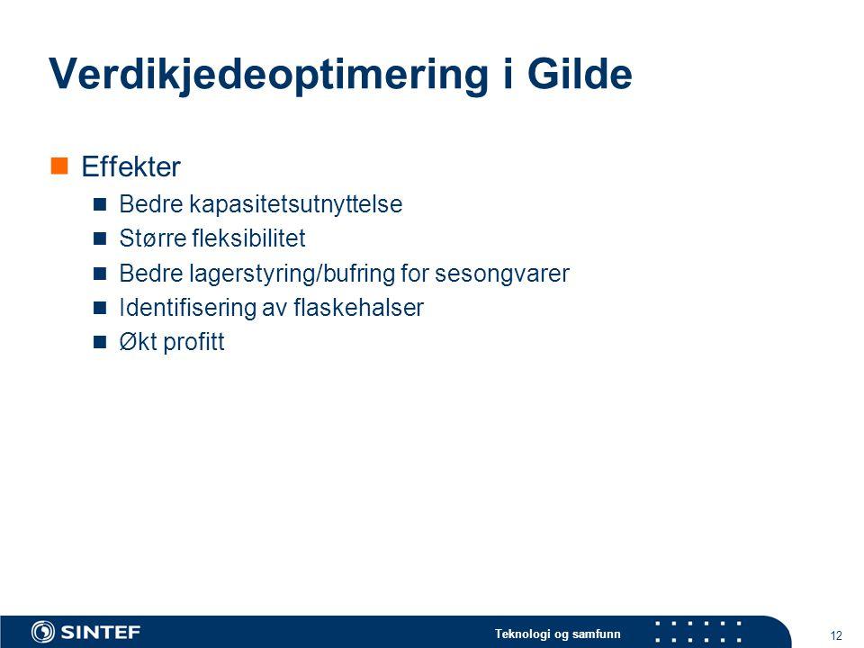 Teknologi og samfunn 12 Verdikjedeoptimering i Gilde  Effekter  Bedre kapasitetsutnyttelse  Større fleksibilitet  Bedre lagerstyring/bufring for s