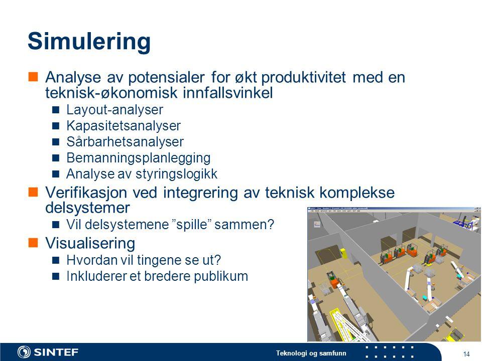 Teknologi og samfunn 14 Simulering  Analyse av potensialer for økt produktivitet med en teknisk-økonomisk innfallsvinkel  Layout-analyser  Kapasite