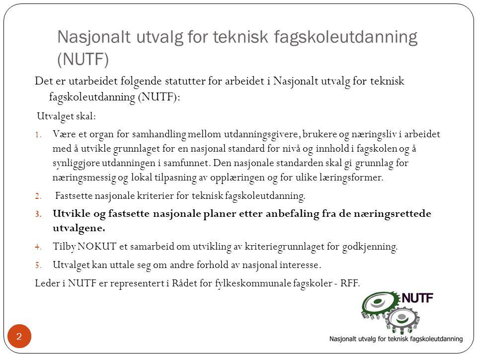 2 Nasjonalt utvalg for teknisk fagskoleutdanning (NUTF) Det er utarbeidet følgende statutter for arbeidet i Nasjonalt utvalg for teknisk fagskoleutdanning (NUTF): Utvalget skal: 1.