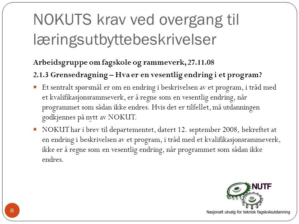 NOKUTS krav ved overgang til læringsutbyttebeskrivelser Arbeidsgruppe om fagskole og rammeverk, 27.11.08 2.1.3 Grensedragning – Hva er en vesentlig endring i et program.
