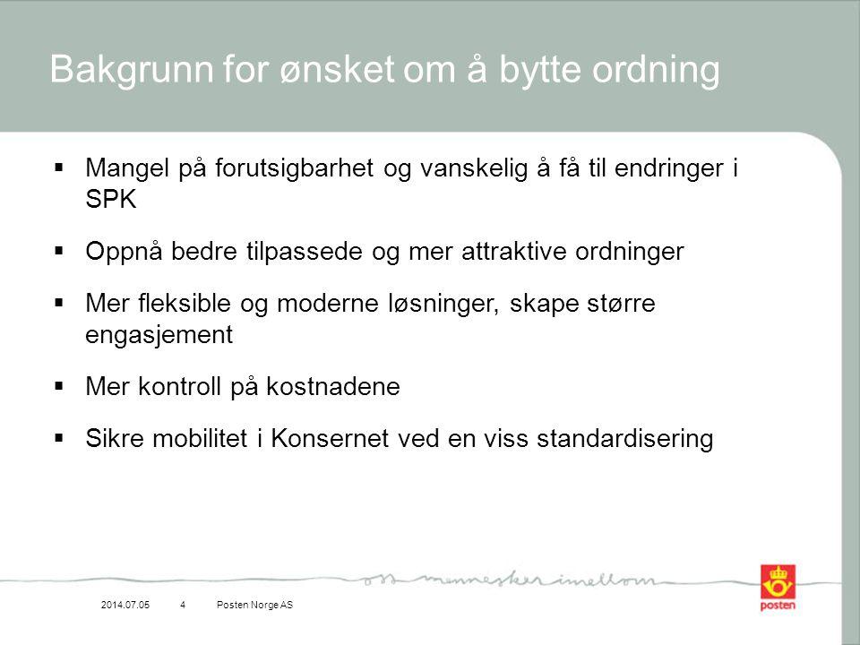 2014.07.05Posten Norge AS4 Bakgrunn for ønsket om å bytte ordning  Mangel på forutsigbarhet og vanskelig å få til endringer i SPK  Oppnå bedre tilpa