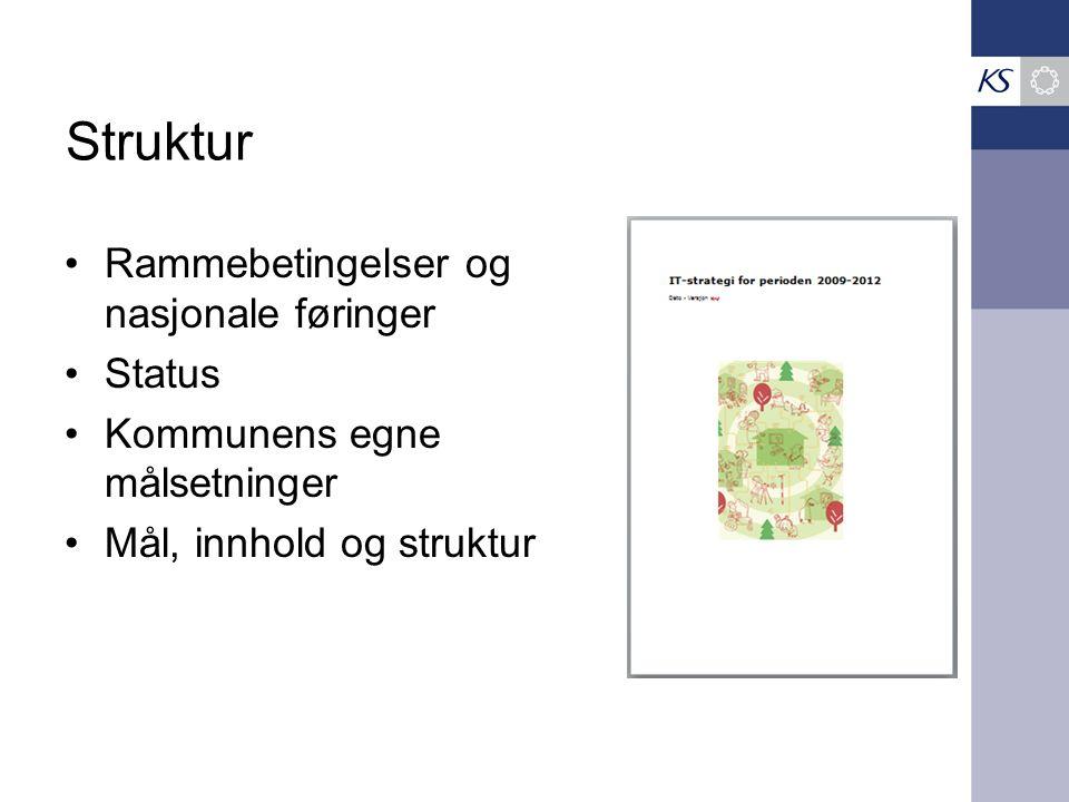 Struktur •Rammebetingelser og nasjonale føringer •Status •Kommunens egne målsetninger •Mål, innhold og struktur