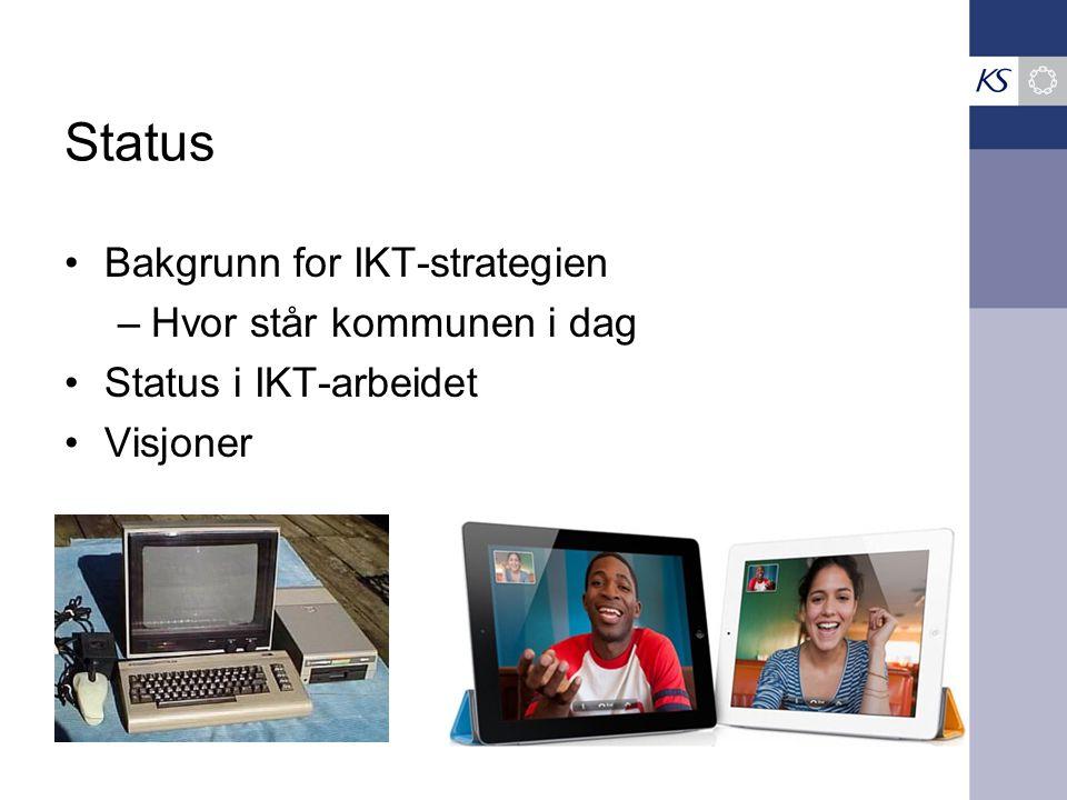 Status •Bakgrunn for IKT-strategien –Hvor står kommunen i dag •Status i IKT-arbeidet •Visjoner