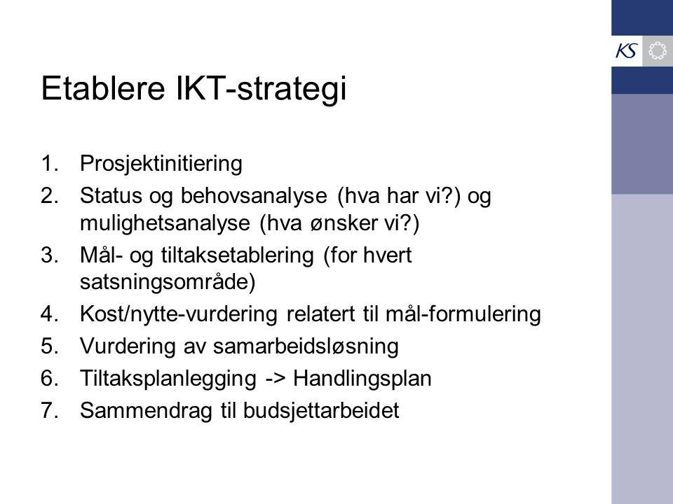 Etablere IKT-strategi 1.Prosjektinitiering 2.Status og behovsanalyse (hva har vi ) og mulighetsanalyse (hva ønsker vi ) 3.Mål- og tiltaksetablering (for hvert satsningsområde) 4.Kost/nytte-vurdering relatert til mål-formulering 5.Vurdering av samarbeidsløsning 6.Tiltaksplanlegging -> Handlingsplan 7.Sammendrag til budsjettarbeidet