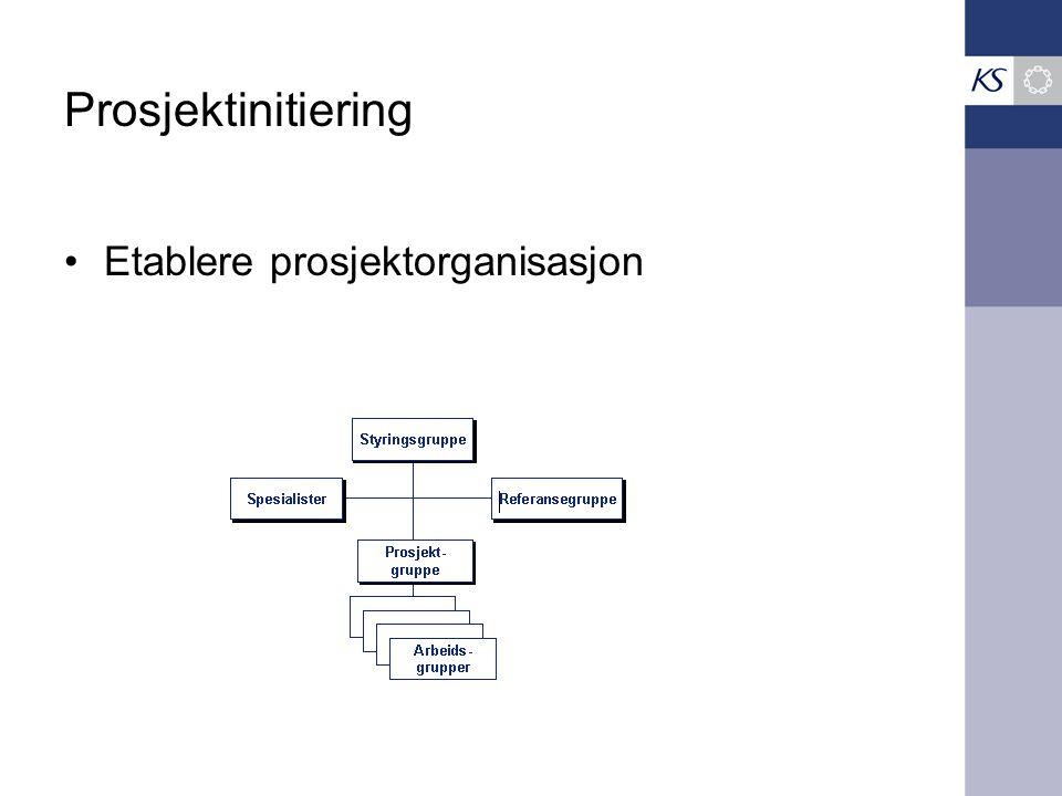 Prosjektinitiering •Etablere prosjektorganisasjon
